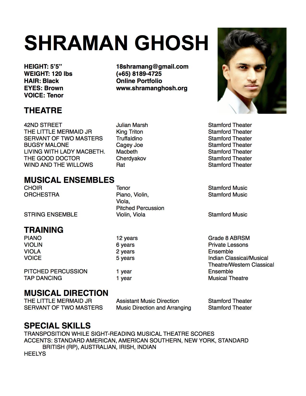 theater resume