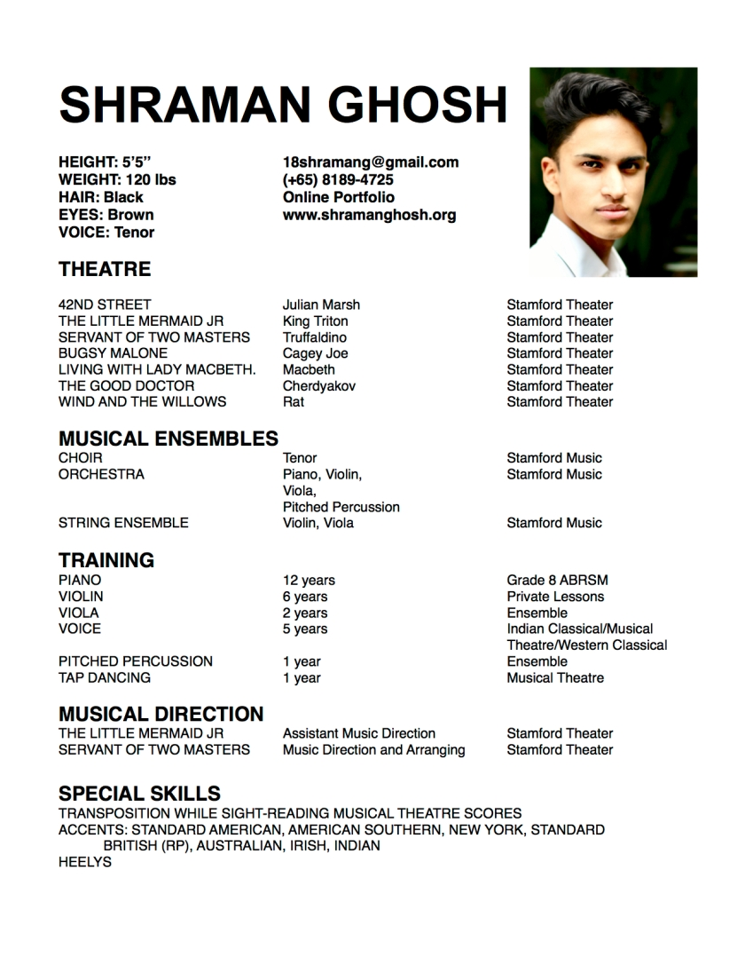 Shraman Ghosh Theatre Resume